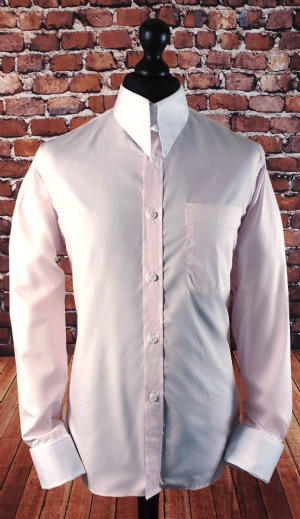 """Huey"" Pale Pink & White Spearpoint Collar Shirt"